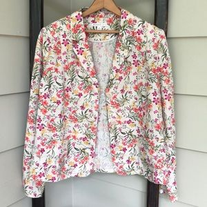💜JM Collection Linen Floral Pink BlazerJacket 16P